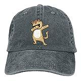 shenguang Cat Vintage Gorra de Mezclilla de béisbol Ajustable de Perfil bajo de Sarga de algodón teñida y Lavada