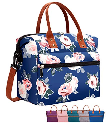 Leakproof Insulated Lunch Tote Bag with Adjustable & Removable Shoulder Strap, Durable Reusable lunch Box Container for Women/Men/Kids/Picnic/Work/School-Blue Flower