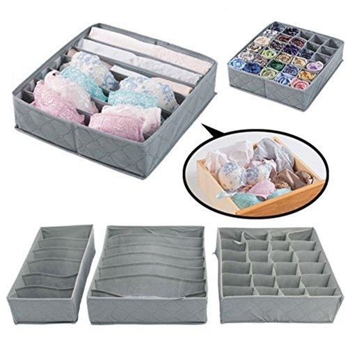 3pcs contenitore set biancheria intima, calze cassetto Closet organizer, in tessuto non tessuto scatola pieghevole Draw organizer divisore per biancheria intima, calze, cravatte, ecc