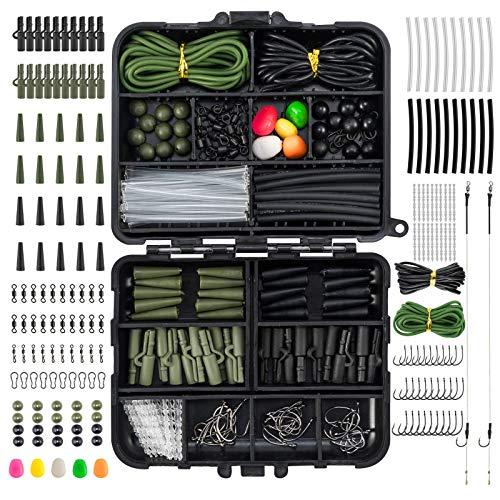 Dr.Fish Lot de 280 articles de pêche à la carpe dans une boîte avec 2 crochets de sécurité pour bas de ligne - Vert et noir