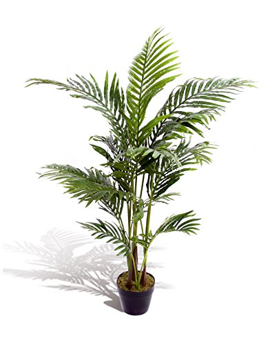 Estupenda planta artificial tropical, palmera, areca, de 120cm, para oficina, invernadero, jardín...