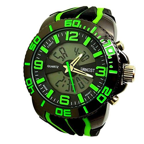 Reloj Hombre Verde Negro Monster Digitale + analógica Negro Cobre XXL Chrono Date