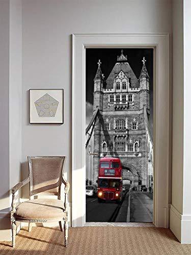 FCFLXJ Türtapete selbstklebend TürPoster London Bridge 3D Bewirken PVC Fototapete Türfolie Poster Tapete Abnehmbar Tapete-Kunst-dekorative Wand-Abziehbilde Wohnzimmer Küche Schlafzimmer 90 * 200CM