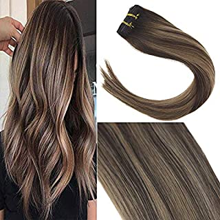 Sunny Dip Dye Double Weft Clip in Human Hair Extensions 14 Inches Remy Full Head Brown to Blonde Clip in Hair Extensions Human Hair 7pcs 120gram.