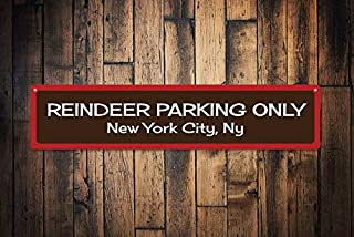 1Pcs Reindeer Sign, Custom Merry Christmas Sign, Reindeer Parking Only Sign, City State Sign, Holiday Sign - Quality Aluminum Parking Decoration (6 x 24 Inches)