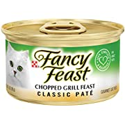 Purina Fancy Feast Grain Free Pate Wet Cat Food, Classic Pate Chopped Grill Feast - (24) 3 oz. Cans