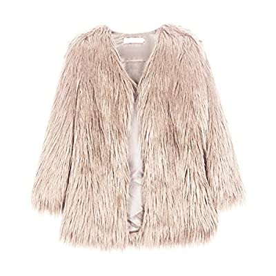 Froomer Women Female Fashion Casaul All-Match Solid Color Faux Fur Loose Long Sleeves Long Coat Jacket Pink from Froomer
