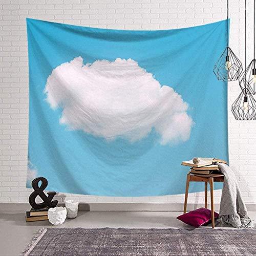Yhjdcc Tapiz de pared con nube azul cielo hippie bohemio, decoración para dormir, cojín grande para viajes, camping, yoga, playa, manta para colgar en la pared, 150 cm x 200 cm