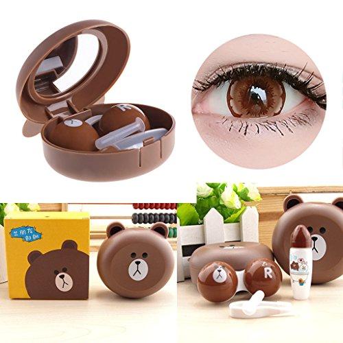 Jiamins Kontaktlinsenbehälter für Damen, niedliches Tier-Design, mit Spiegel, niedliches Kunststoff-Brillenetui für Kontaktlinsen, Box mit Saugnapf und Pinzette