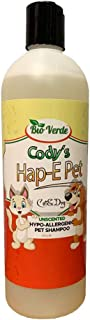 Bio Verde Cody's Hap-E Pet Hypo-Allergenic Pet Shampoo for Cats and Dogs | All Natural! | Unscented | 24 FL OZ
