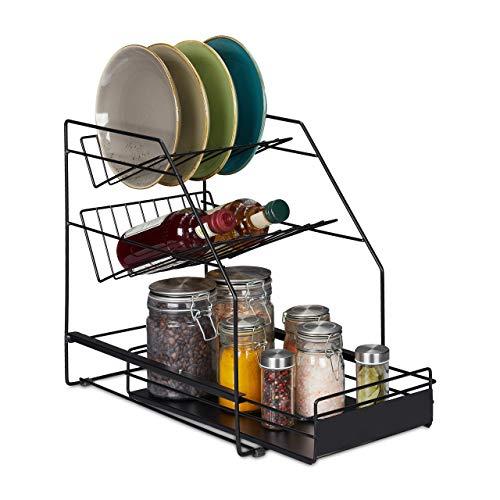 Relaxdays Organizador de Armario de Cocina, Extensible, Independiente, más Espacio de Almacenamiento, Estante de Cocina, 39,5 x 25 x 40 cm, Color Negro