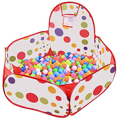 WolinTek Tienda de Juego Infantil, Piscina de Bolas Niños con Aro de Baloncesto, Parque de Bolas de Juego para Infantil, Casa Plegable, Regalo de Juguete para Niños (Bolas No Incluidas)