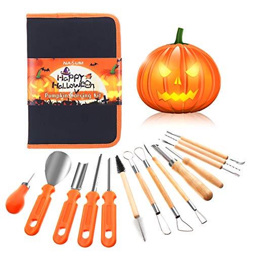 NASUM Kit Intaglio Zucca Halloween, Set da Intaglio Zucca, Strumenti Inossidabile Professionale per Intagliare Zucca (14PCS)
