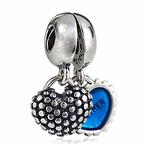 Hoobeads 1Pair Enamel Mother&Son and Mother&Daughter 925 Sterling Silver Dangle Heart Charms (Blue) by Fits pandora charms bracelet