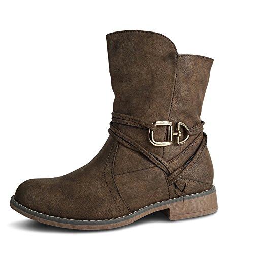 Damen Schlupfstiefel Stiefeletten Stiefel Boots leicht gefüttert ST535 (41, Braun warm gefüttert)