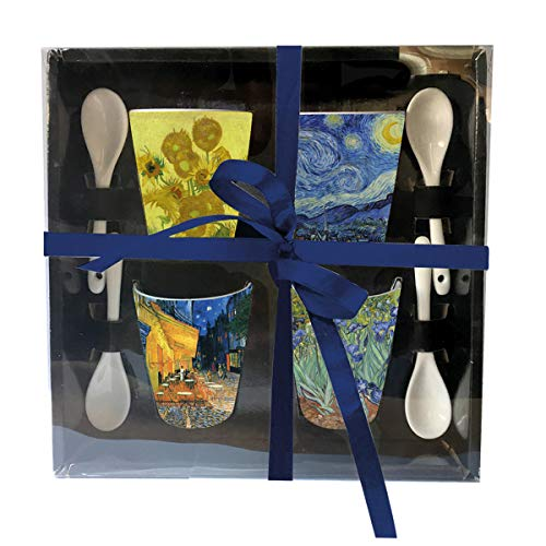 Van Gogh Espresso Cups with Spoons in Gift Box, Set of 4 Assorted Styles