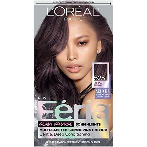 L'Oreal Paris Feria Multi-Faceted Shimmering Permanent Hair Color, 525 Purple Smoke, Pack of 1, Hair Dye