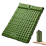 Double Sleeping Pad for Camping Inflatable 2 Person Sleeping Mat with Built-in Pump, Foot Press Ultralight Extra Thick Camping Mat with Pillow for Backpacking, Traveling, Hiking, Durable & Waterproof