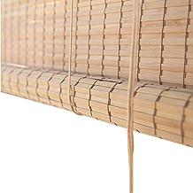 WXQ Outside Mount Patio Roller Shade Blinds - Door/Gazebo/Balcony/Exterior Bamboo Sun Shade with Hooks, 60cm/80cm/100cm/12...