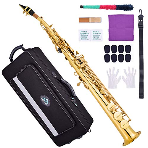 EastRock Bb Soprano Saxophone Straight Gold Laquer Sax Instruments for Beginners Students Intermediate Players with Carrying Case,Mouthpiece,Pads,Reed,Cleaning kit,neck Strap,White Gloves