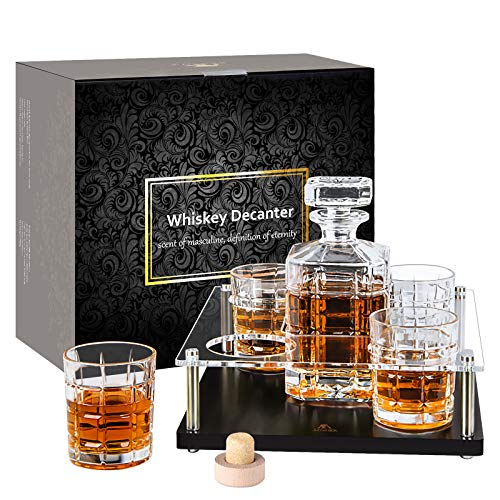 Whiskey-Decanter-Set-with-glasses-whisky glass set Decanter 4 Glasses Sets with Wooden Base for Men, Bourbon, Vodka Perfect Present 900 Milliliter