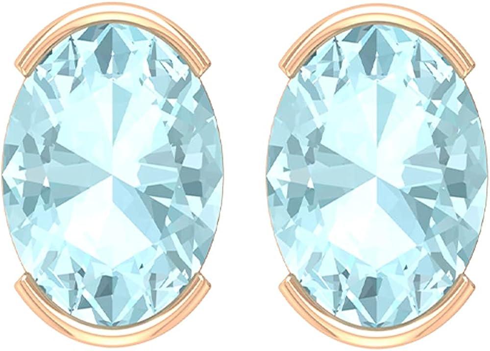 5X7 MM Oval Cut Sky Blue Topaz Stud Earrings (AAA Quality),14K Rose Gold,Sky Blue Topaz