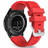 MoKo Correa para Galaxy Watch 3 45mm/Galaxy Watch 46mm/Gear S3 Frontier/Classic/Huawei Watch GT2 Pro/GT2e/GT 46mm/GT2 46mm/Ticwatch Pro 3-22mm Banda Deportiva de Silicona Suave Reemplazo, Rojo