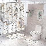 QGWMCD Duschvorhang Braunbeiges Marmormuster,Bad 4-teiliges Set, rutschfest, Digitaldruck, mit 12 Haken für Badezimmer einschließlich Badematte, Sockelmatte & Toilettenmatte