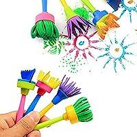 wuudi Confezione di pennelli per Bambini, Kit di Spugna per Pittura con apprendimento precoce con Grembiule Impermeabile a Manica Lunga, Kit di Disegno per 56 Pezzi #1