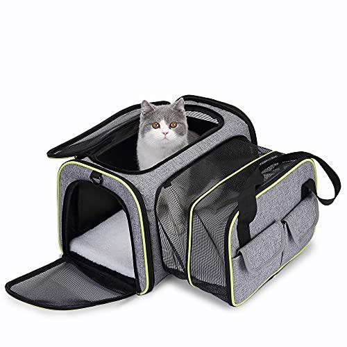 Transportin Gato,Transportadoras para Perro,Bolsa de Transporte Transpirable para Mascotas,Cómodo Bolso para Transporte en Tren, Coche, Avión(44 * 23 * 30cm) (44.5 x 44.5 x 28 CM)
