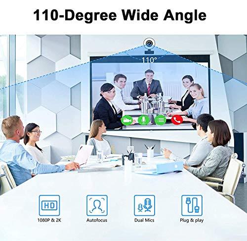 Webcam 1080P Full HD mit Mikrofon und Ringlicht Web Cam für PC, Laptop,Mac, USB Webcam Streaming Kamera mit Autofokus und Weitwinkel für YouTube, Skype Videoanrufe, Lernen, Videokonferenz, Spielen