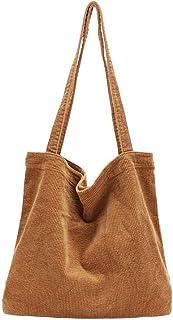 Ulisty Damen Grosse Kapazität Cord Schultertasche Retro Handtasche Mode Einkaufstasche Tägliche Tasche braun