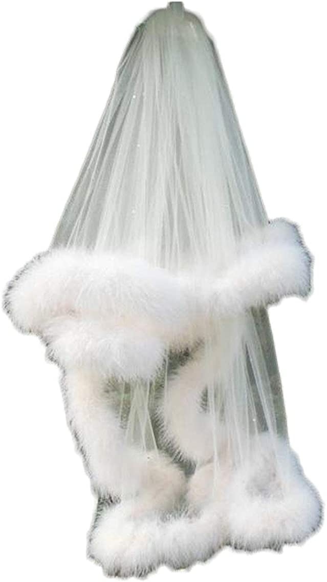 1T Short Wedding Veil for Brides White with Sequins Fur Edge free Comb