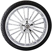 Coastal Moto METATL213CH-ABS Precision Cast Atlantic 3D Front Wheel with Tire - 21x3.5 - Chrome