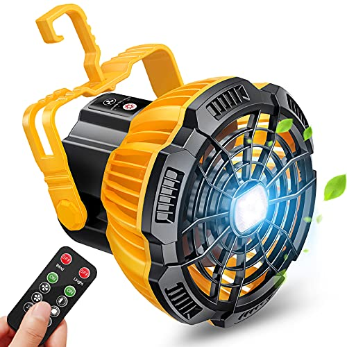 Karvipark Portable Camping Fan for Tent, 2 in 1 Rechargeable USB Tent Ceiling Fan with LED light Hanging Hook, Desk Fan for Outdoor Camping Home Office Car Emergency Outages
