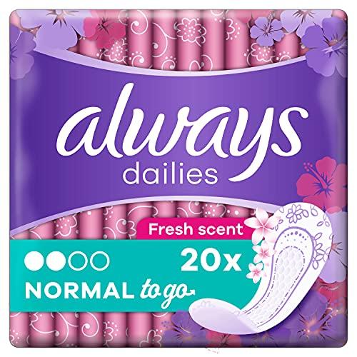 Always Dailies Slipeinlagen Damen Normal To Go Frisch (20 Einlagen), Giga Pack, Mit Dezentem Duft, Flexibel & Bequem, Einzeln Verpackt