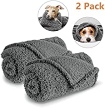 AIPERRO 2 Pack Premium Fluffy Fleece Dog Blanket, Soft and Warm Gray Pet Throw Blankets Bed Couch Car Seat Cover Washable for Puppies and Cats, Small