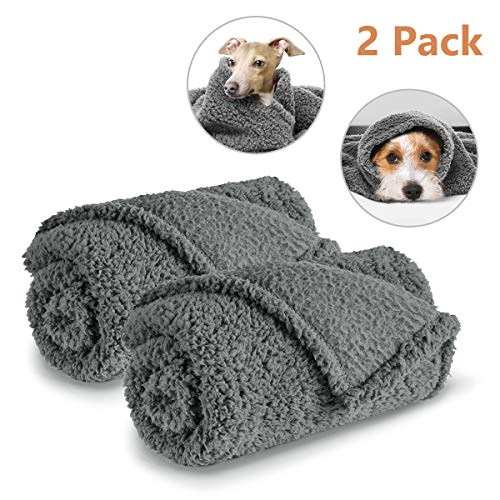 AIPERRO 2 Pack Premium Fluffy Fleece Dog Blanket, Soft and Warm Gray Pet Throw Blankets Bed Couch Car Seat Cover Washable for Puppies and Cats, Medium