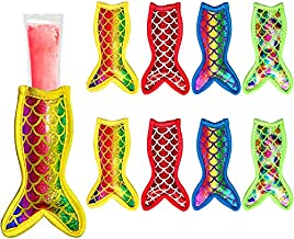Hzran Mermaid Ice Pop Sleeves, 8 Pieces Ice Pop Neoprene Insulator Sleeves, Freezer Popsicle Holder Sleeves, Mermaid Ice Sleeves Holder Bag, Reusable Washable Ice Popsicle Holders for Kids (8 Pack)