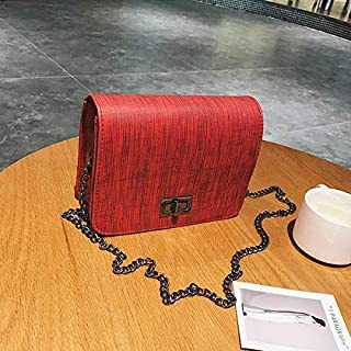 shoulder bag with non-detachable narrow metal chain strap, metal flip lock and wooden pattern. One inner compartment with polyester lining red CBS04