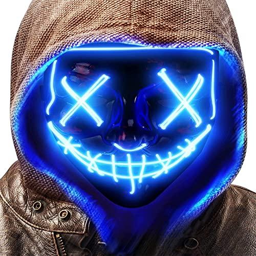 WuxiaoLU Máscara LED de Halloween de miedo, máscara de iluminación para jugar roles, máscara de rave LED disfraz 3 modos de iluminación, máscaras de Halloween para niños y niñas, azul
