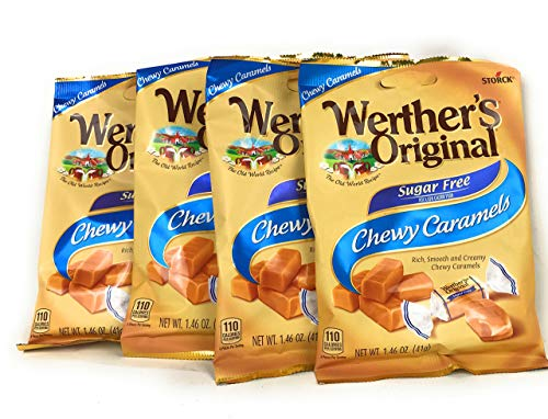 Werther's Chewy Caramels Candies Original Sugar Free, 1.46 Ounce Pack of 4