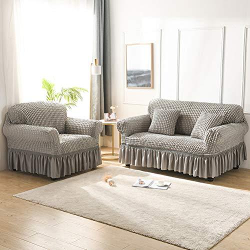 Braun Grün Grau Gelb Rosa Sofabezug l Form 1/2/3/4 Sitzer, Sofabezug Ecksofa Spannbezug, Elastisch Dauerhaft Sofabezug mit Rüsche Rock (Grau,3 Sitzer)