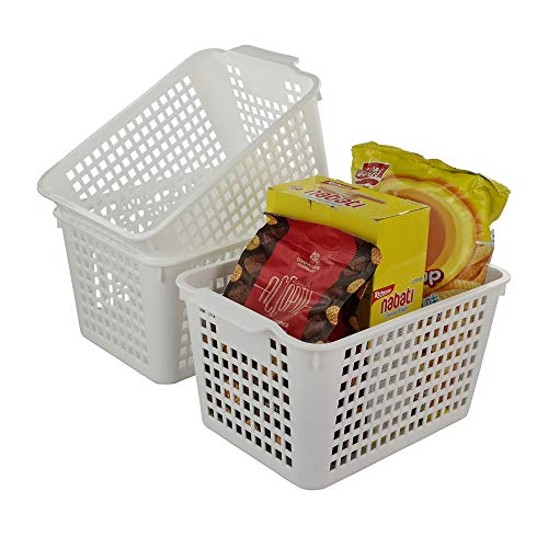 Fiaze 6-Pack White Plastic Storage Bin Organizer Office Storage Bins
