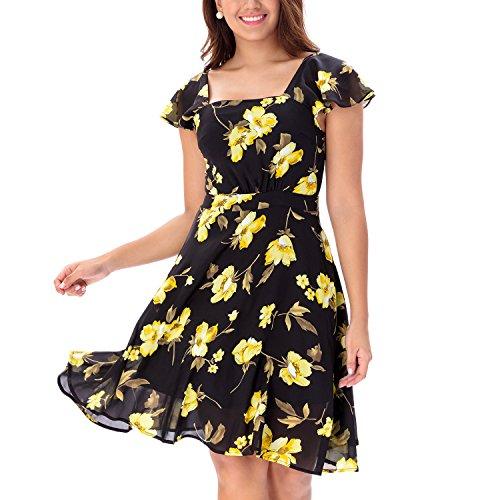 One Sight Women's Floral Chiffon Midi Casual Dress Short Sleeves