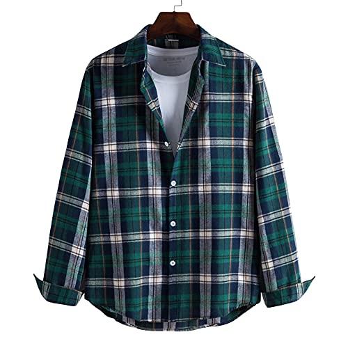 SSBZYES Camisas para Hombres, Camisas De Manga Larga, Camisas a Cuadros para Hombres, Camisas De Solapa De Manga Larga, Tops Informales para Hombres, Camisas De Manga Larga para Hombres