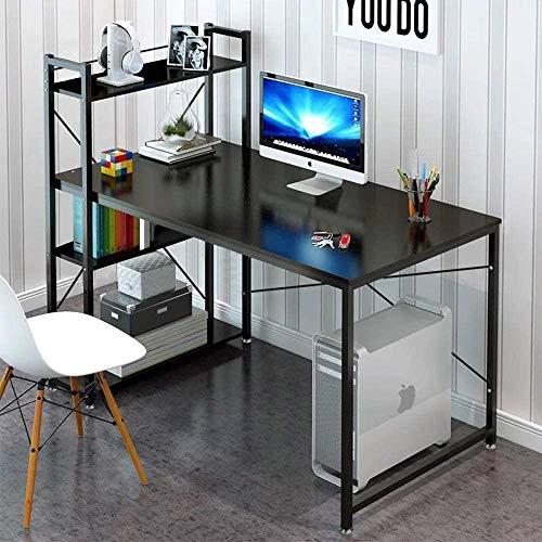 Dripex Table de Bureau avec Etagère de Rangement, Table de Travail en Bois, Bureau d'Ordinateur pour Ecole, Bureau et Domicile 120 x 60 x 120 cm(Noir)