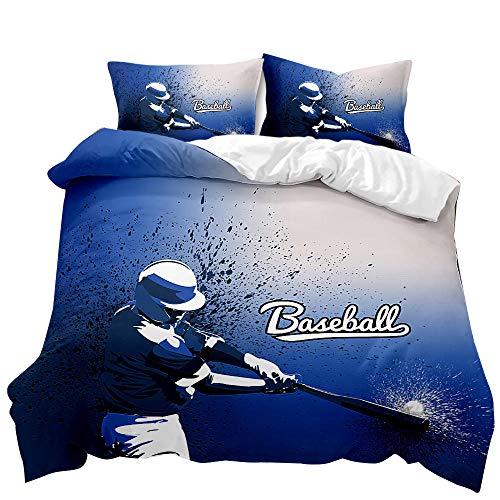 Funda de Edredón 3 Piezas Juego de Cama Jugador de Béisbol Azul Funda Nórdica Ropa de Cama Microfibra 140 X 200 cm 1 Funda Nórdica & 2 Funda de Almohada