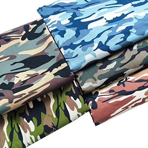 Zaione - 5 piezas de popelina de 48 cm x 48 cm en 100 % algodón con estampado de camuflaje, para patchwork y manualidades