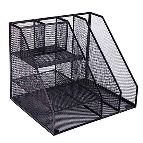 LJFYMX vaschetta Desktop File Manager Plastica Magazine Frame Documento File File Rack Rack Display Stand e Storage Box Nero portacorrispondenza